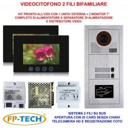 VIDEOCITOFONO 2 FILI 1 2 3 4 MONITOR LCD TOUCH FAMILIARE BIFAMILIARE CONDOMINIALE TELECAMERA (Kit Bifamiliare Completo)