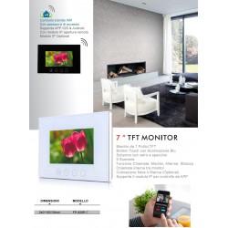 """VIDEOCITOFONO 2 FILI 1 2 3 4 MONITOR LCD TOUCH FAMILIARE BIFAMILIARE CONDOMINIALE TELECAMERA (1 Monitor 7"""" Bianco)"""