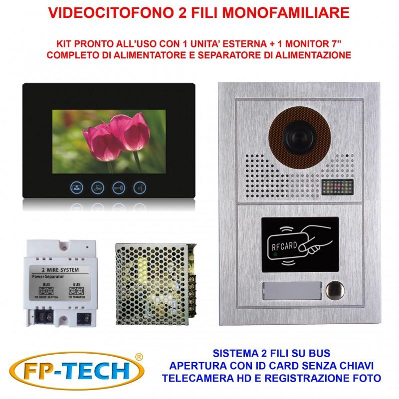 VIDEOCITOFONO 2 FILI 1 2 3 4 MONITOR LCD TOUCH FAMILIARE BIFAMILIARE CONDOMINIALE TELECAMERA (Kit Monofamiliare Completo)
