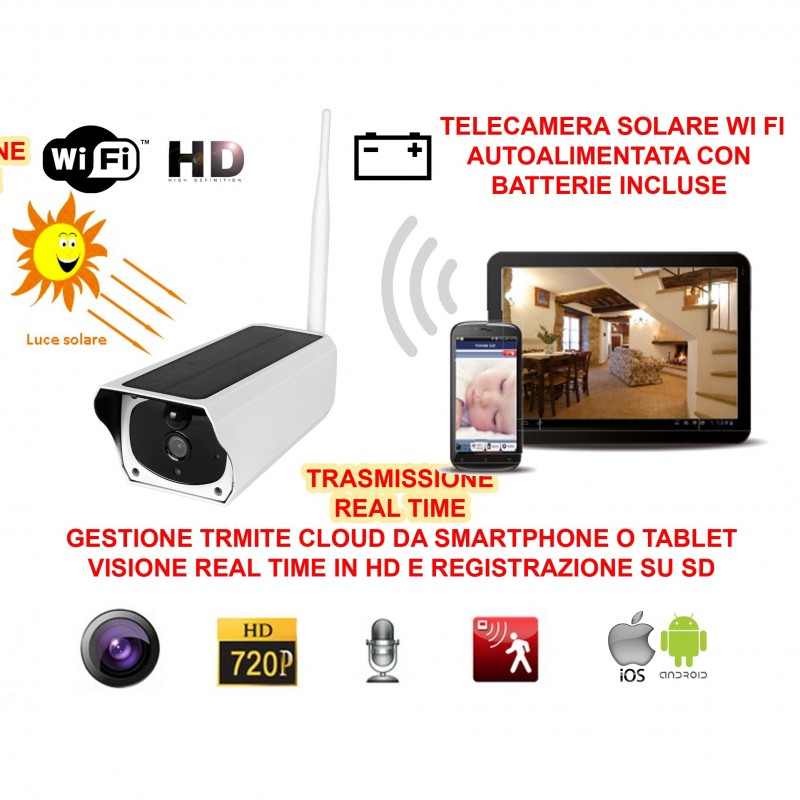 TELECAMERA VIDEOSORVEGLIANZA IP HD 720P WIRELESS ESTERNO CLOUD WI-FI LED IR WIFI