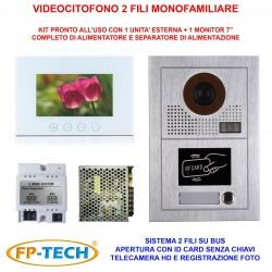 VIDEOCITOFONO 2 FILI 1 2 3 4 MONITOR LCD TOUCH FAMILIARE BIFAMILIARE CONDOMINIALE TELECAMERA (Kit Monofamiliare Completo Bianco)