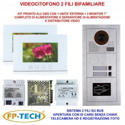 VIDEOCITOFONO 2 FILI 1 2 3 4 MONITOR LCD TOUCH FAMILIARE BIFAMILIARE CONDOMINIALE TELECAMERA (Kit Bifamiliare Completo Bianco)