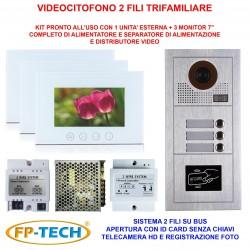 VIDEOCITOFONO 2 FILI 1 2 3 4 MONITOR LCD TOUCH FAMILIARE BIFAMILIARE CONDOMINIALE TELECAMERA (Kit Trifamiliare Completo Bianco)