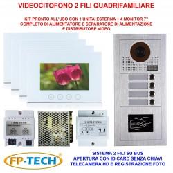VIDEOCITOFONO 2 FILI 1 2 3 4 MONITOR LCD TOUCH BIFAMILIARE CONDOMINIALE TELECAMERA (Kit Quadrifamiliare Completo Bianco)