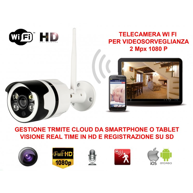 TELECAMERA VIDEOSORVEGLIANZA IP HD 1080P WIRELESS ESTERNO CLOUD WI-FI LED IR WIFI