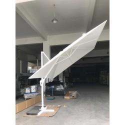 Ombrellone Da Giardino Con Base.Ombrellone Da Giardino Bianco Decentrato 3x3 Orientabile Girevole A 360 Palo Alluminio