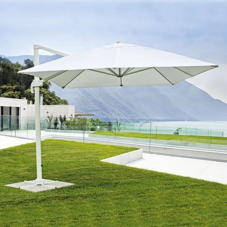 Ombrellone Da Giardino Decentrato In Alluminio.Ombrellone Da Giardino Bianco Decentrato 3x3 Orientabile Girevole A 360 Palo Alluminio