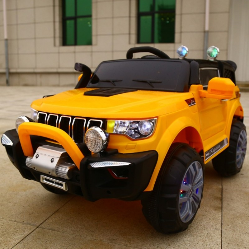 ELECTRIC CAR FOR CHILDREN JEEP MACHINE 2 PLACES 4WD 12V WITH USB MP3 ORANGE REMOTE CONTROL