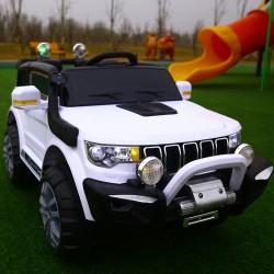 AUTO ELETTRICA PER BAMBINI MACCHINA JEEP 2 POSTI 4WD 12V CON TELECOMANDO USB MP3 BIANCA