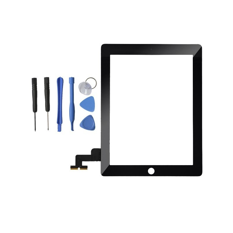 TOUCH SCREEN VETRO PER APPLE IPAD 2 SCHERMO NERO TASTO HOME E ADESIVO ASSEMBLATI