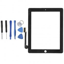 TOUCH SCREEN VETRO PER APPLE IPAD 3 SCHERMO NERO TASTO HOME E ADESIVO ASSEMBLATI