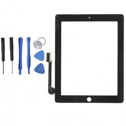 TOUCH SCREEN VETRO PER APPLE IPAD 4 SCHERMO NERO TASTO HOME E ADESIVO ASSEMBLATI