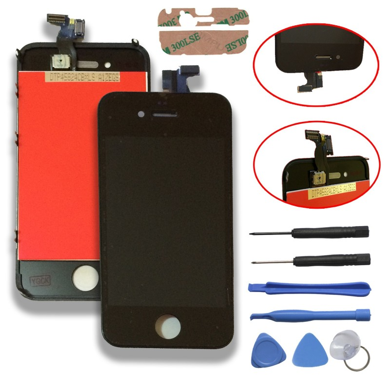 TOUCH SCREEN DISPLAY LCD RETINA SCHERMO E VETRO + FRAME PER APPLE IPHONE 4 NERO CON ADESIVO E ATTREZZI DI SMONTAGGIO