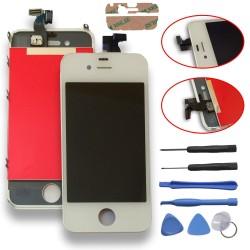TOUCH SCREEN DISPLAY LCD RETINA SCHERMO E VETRO + FRAME PER APPLE IPHONE 4 BIANCO CON ADESIVO E ATTREZZI DI SMONTAGGIO