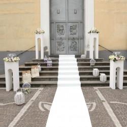 TAPPETO NUZIALE BIANCO PASSATOIA PER MATRIMONIO CERIMONIA EVENTO CHIESA AL METRO
