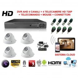 KIT VIDEOSORVEGLIANZA AHD CON SISTEMA CLOUD VISIONE DA REMOTO E 4 TELECAMERE HD