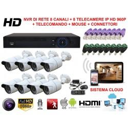 KIT VIDEOSORVEGLIANZA DI RETE NVR CON SISTEMA CLOUD VISIONE DA REMOTO E 8 TELECAMERE IP HD