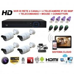 KIT VIDEOSORVEGLIANZA DI RETE NVR CON SISTEMA CLOUD VISIONE DA REMOTO E 4 TELECAMERE IP HD