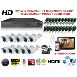 KIT VIDEOSORVEGLIANZA 16 CANALI AHD CON SISTEMA CLOUD VISIONE DA REMOTO E 10 TELECAMERE