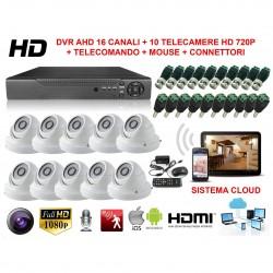 KIT VIDEOSORVEGLIANZA DOME 16 CANALI AHD CON SISTEMA CLOUD VISIONE DA REMOTO E 10 TELECAMERE HD NUOVO
