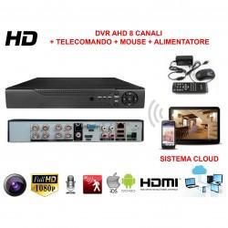 KIT VIDEOSORVEGLIANZA AHD CON SISTEMA CLOUD VISIONE DA REMOTO E 8 TELECAMERE HD