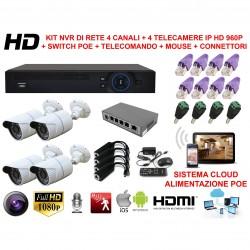 KIT VIDEOSORVEGLIANZA POE IP NVR CLOUD 4 CANALI 4 TELECAMERE HD ONVIF SWITCH