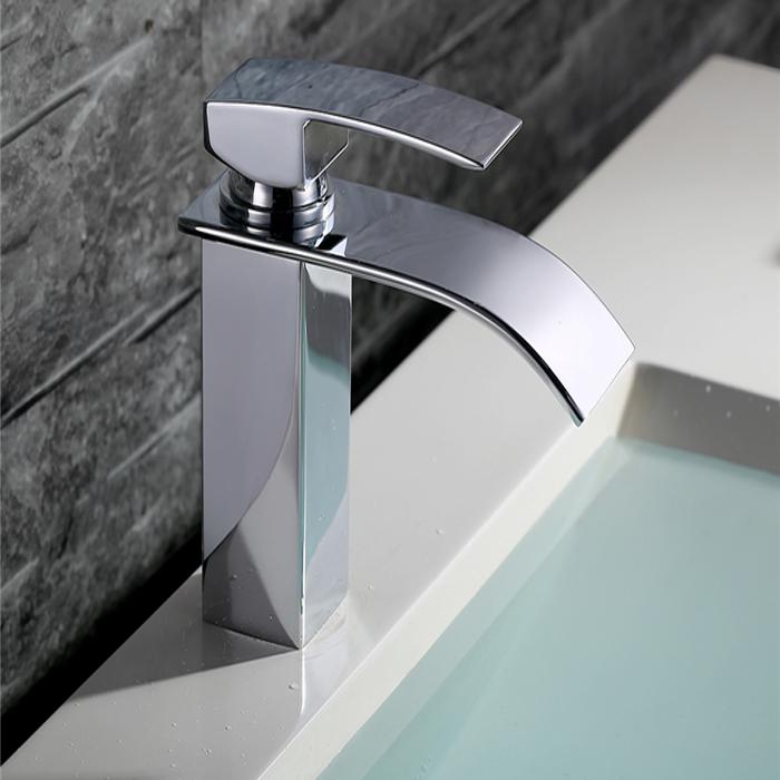 Rubinetto a cascata cromato monocomando miscelatore lavabo bagno lavandino desig ebay - Rubinetto bagno cascata ...