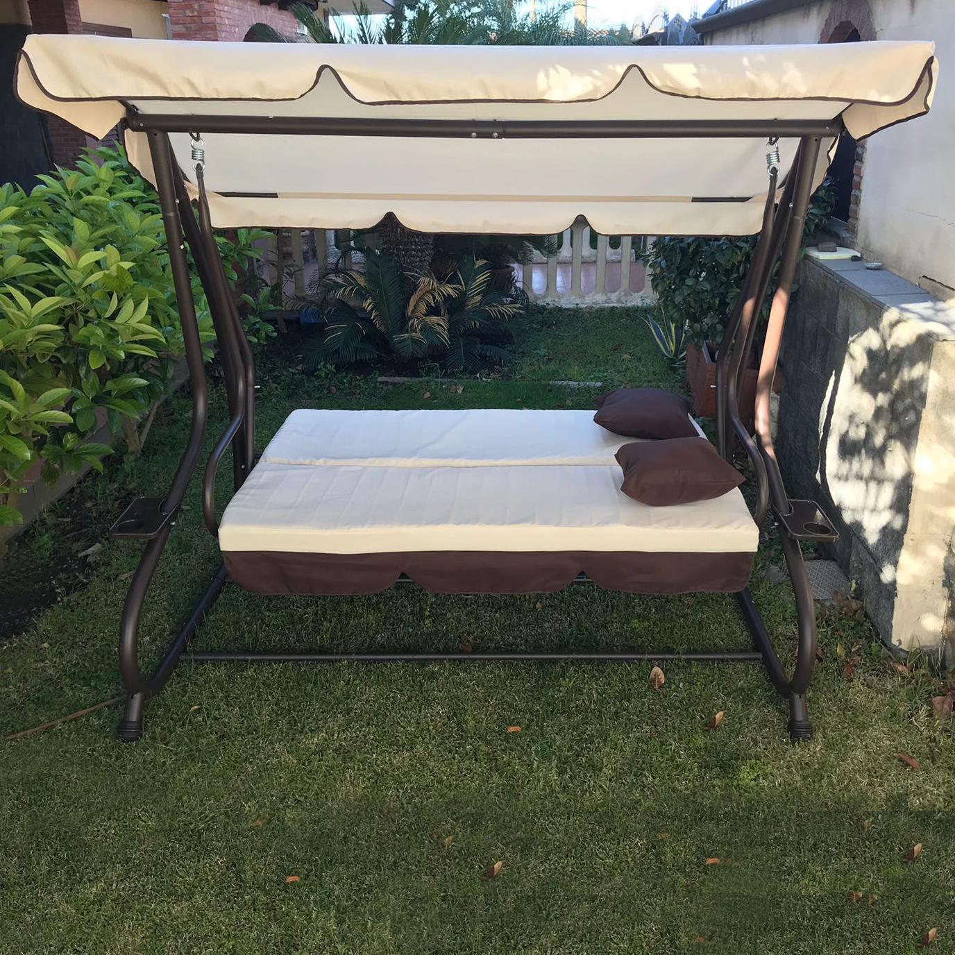 Dondolo da giardino 3 posti con tetto parasole divano letto altalena inclinabile ebay - Dondolo da giardino usato ...