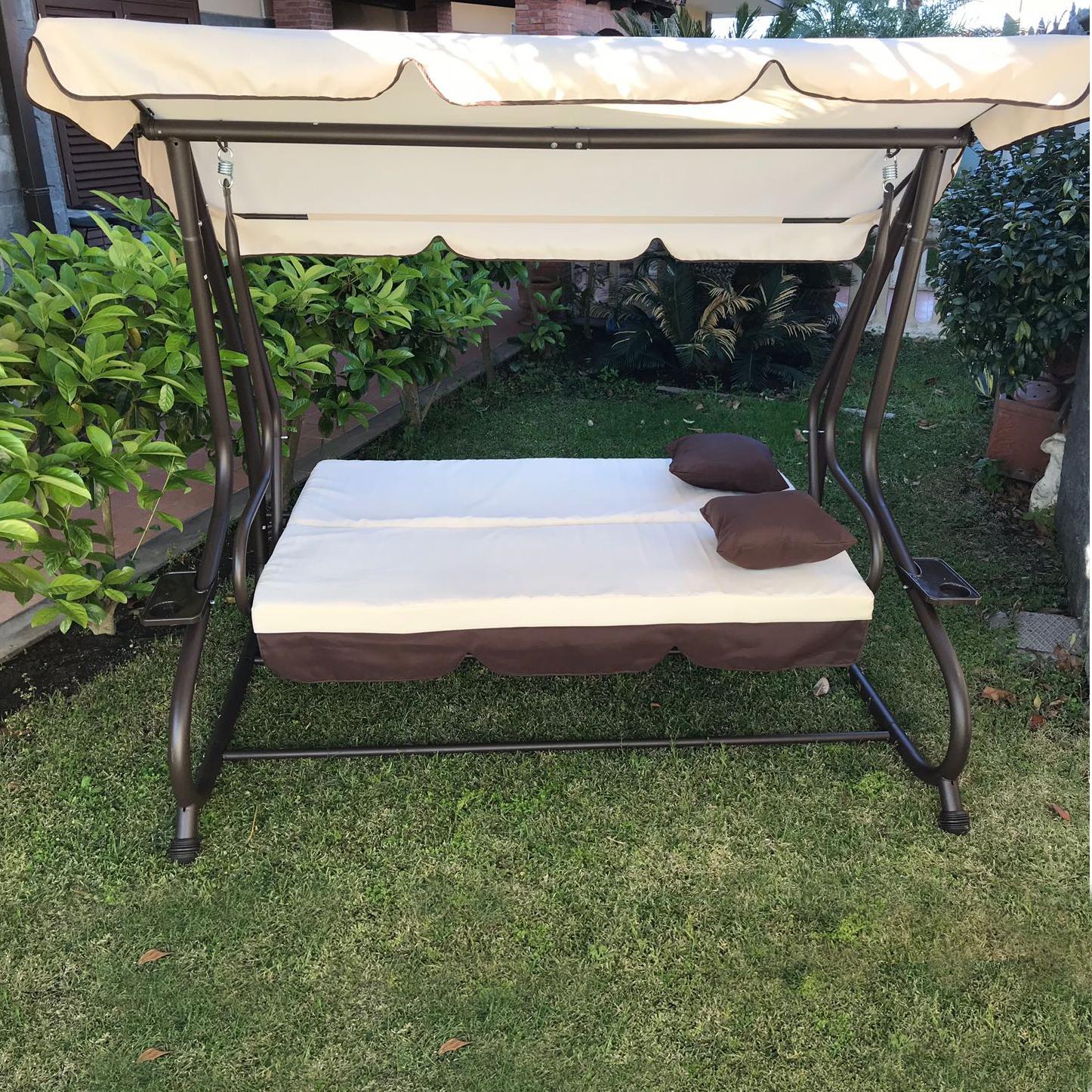 Dondolo da giardino 3 posti con tetto parasole divano for Montaggio dondolo