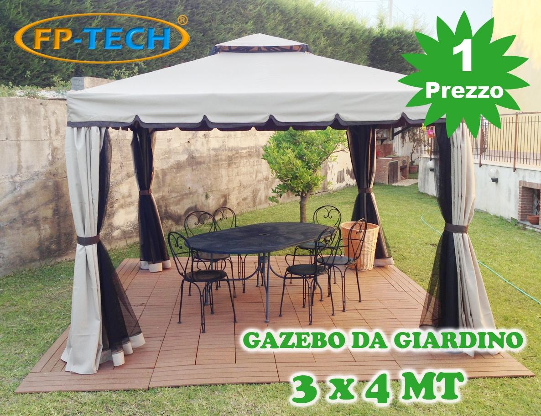 Gazebo Da Giardino Prezzi : Gazebo giardino in alluminio telo antipioggia pvc zanzariera