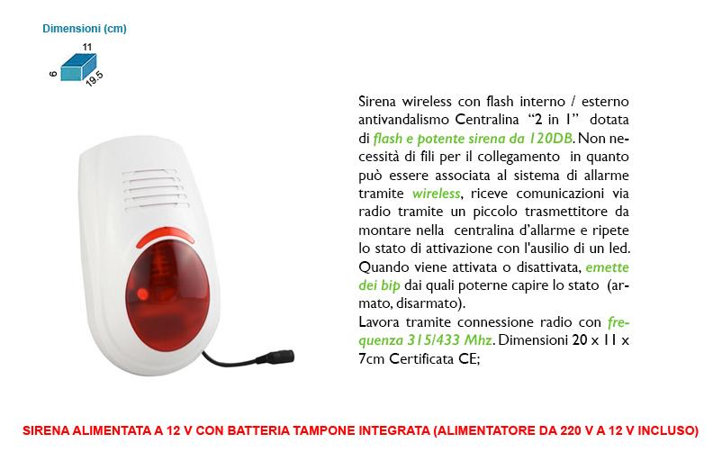 Sirena wireless esterna antifurto casa lampeggiante sos - Centralina antifurto casa prezzo ...