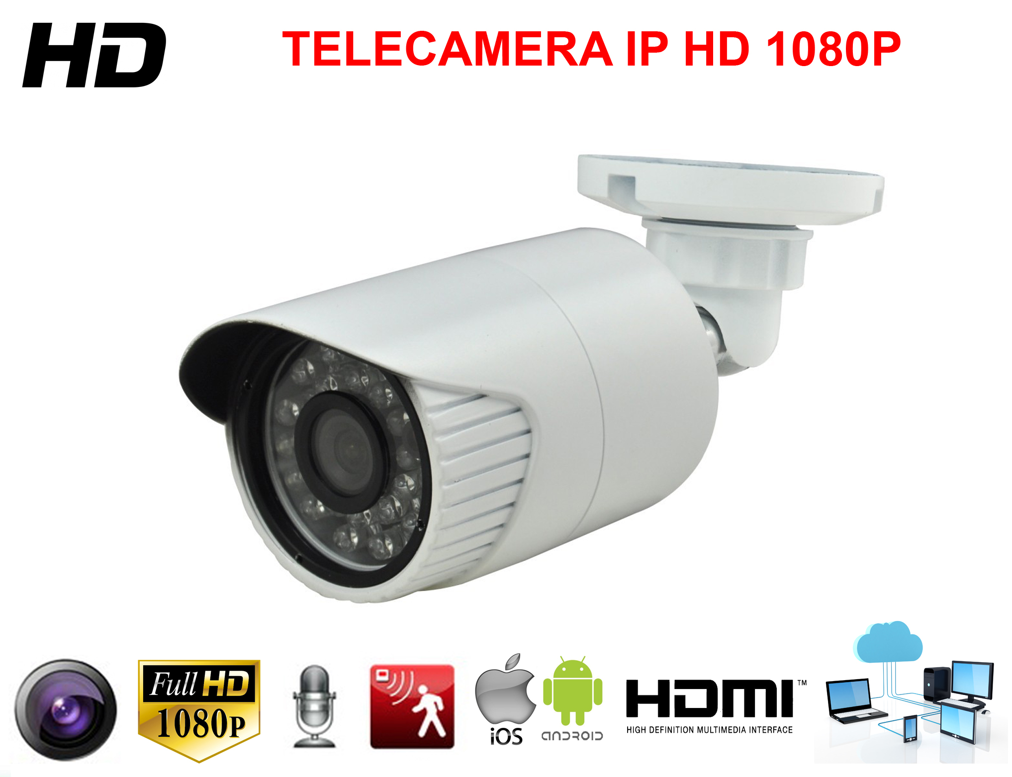 TELECAMERA HD IP 2.2 MPX VIDEOSORVEGLIANZA 1080P 5 MM 24 LED NOTTURNI BULLET NVR